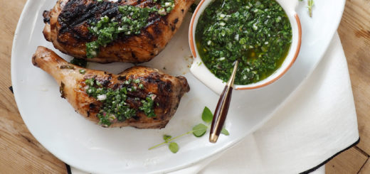grilled chicken chimichurri recipe with heirloom tomato salad on coco kelley