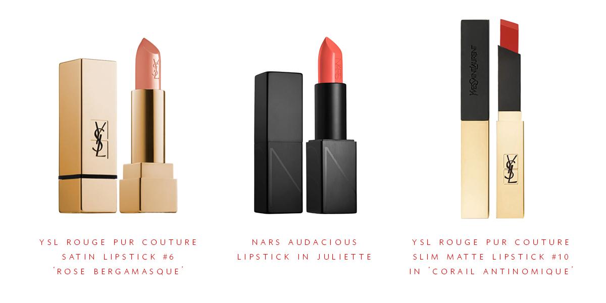 trois rouges à lèvres d'été avec des nuances orange | Coco Kelley