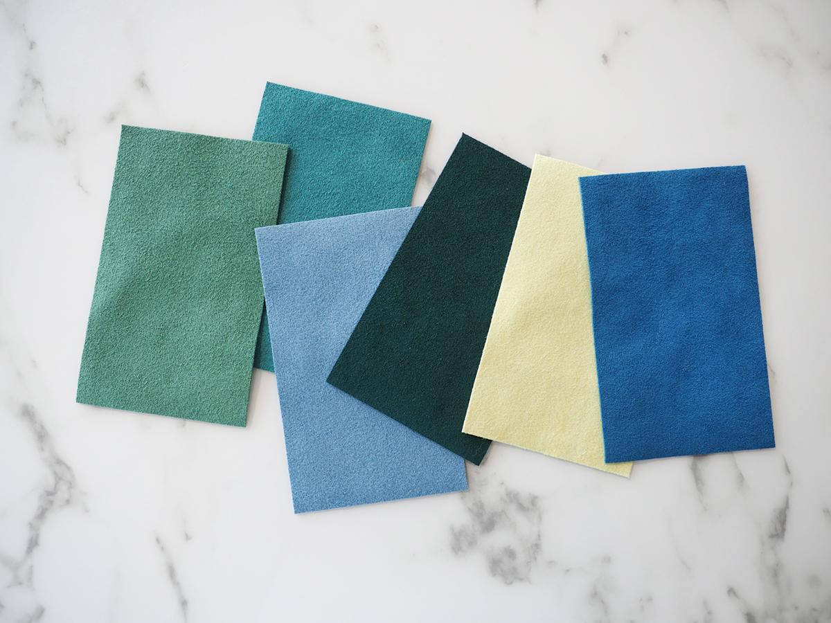 une variété de verts et de bleus de la collection ultrasuede HP