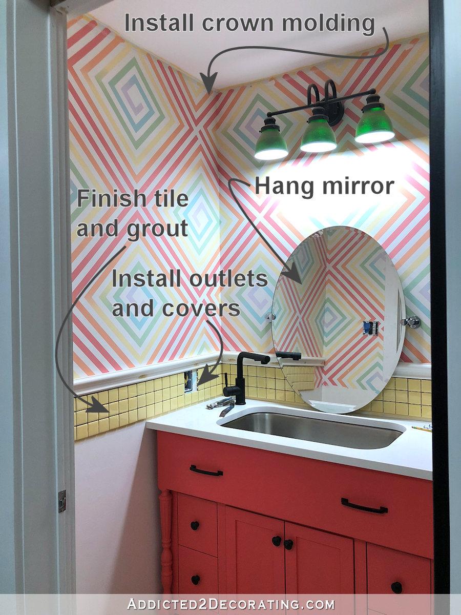 demi-salle de bain - compte à rebours avant achèvement - la liste des choses à faire - 5