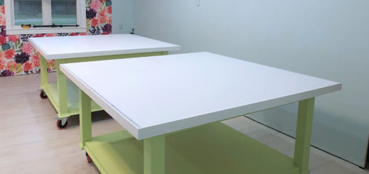 large DIY workroom craft table -- two tables that can be clamped together to form one huge table - 10