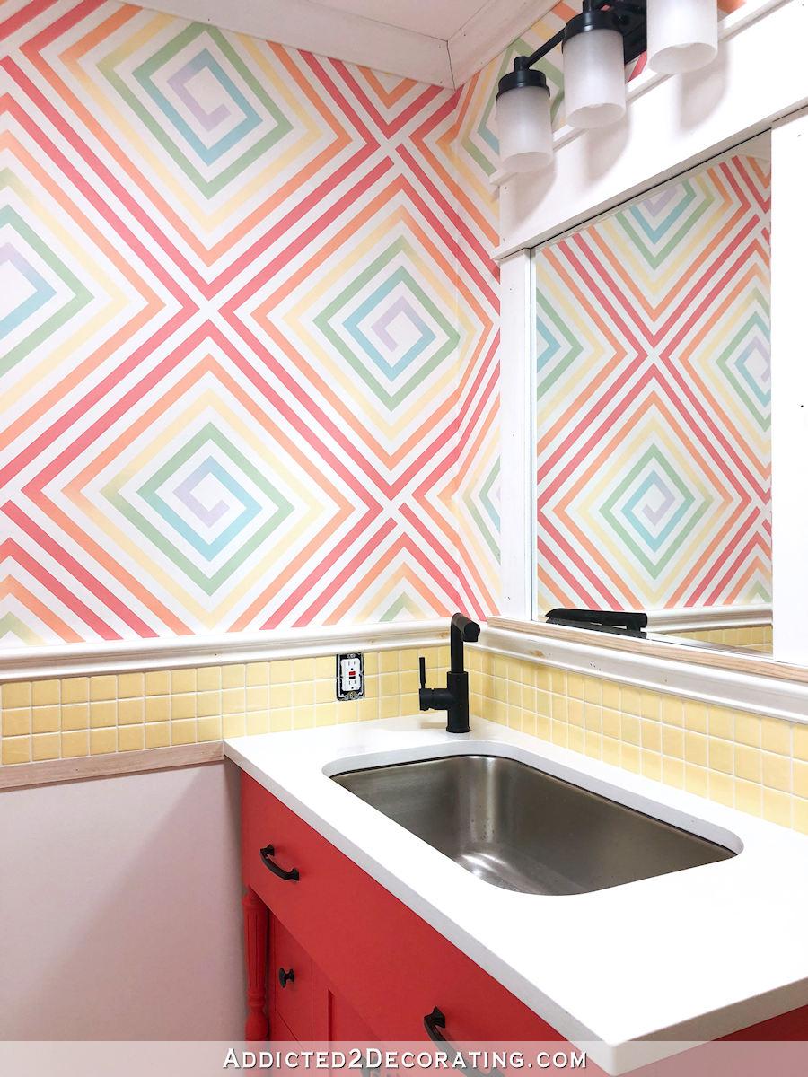 Conception de mur paitned main bricolage multi-couleur ombre carré en spirale