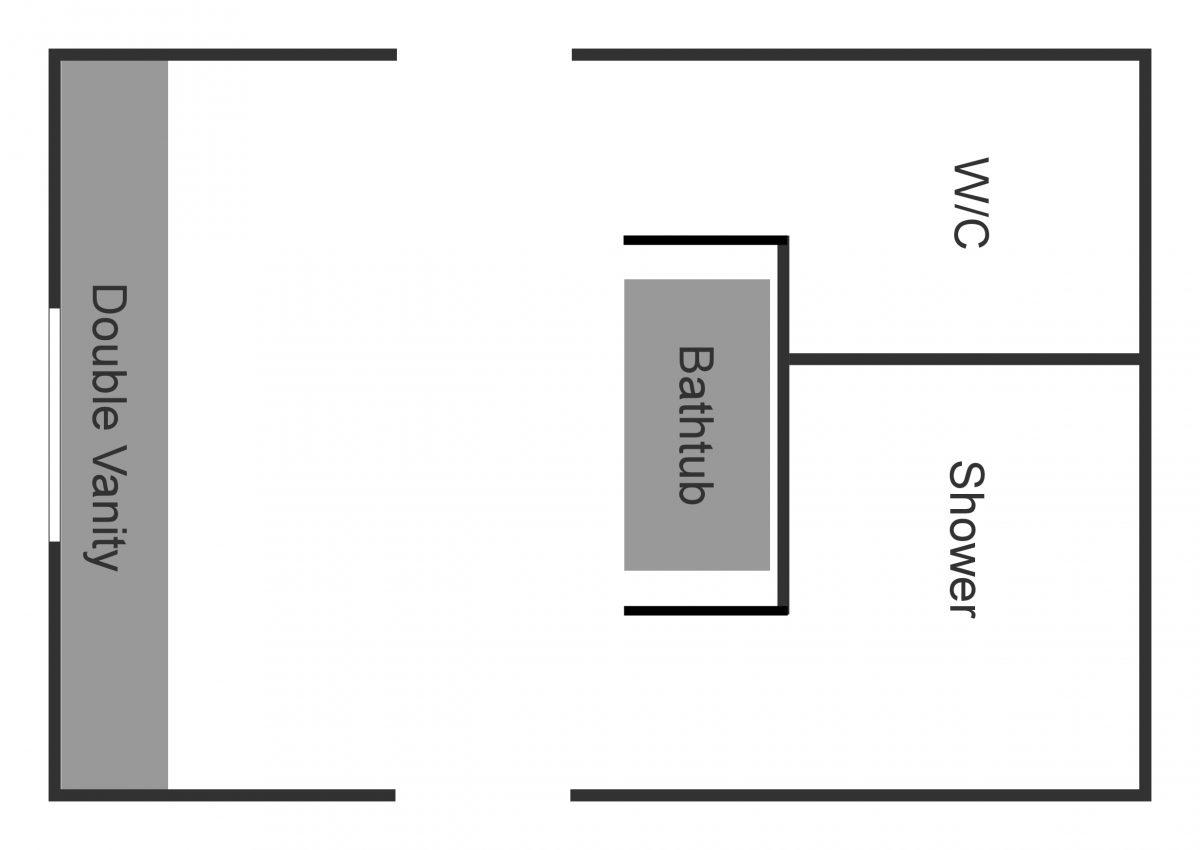 transformer la chambre principale actuelle, le placard principal et une partie du couloir en une immense salle de bains principale