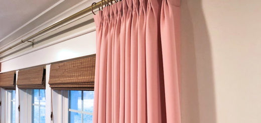 living room with pink draperies