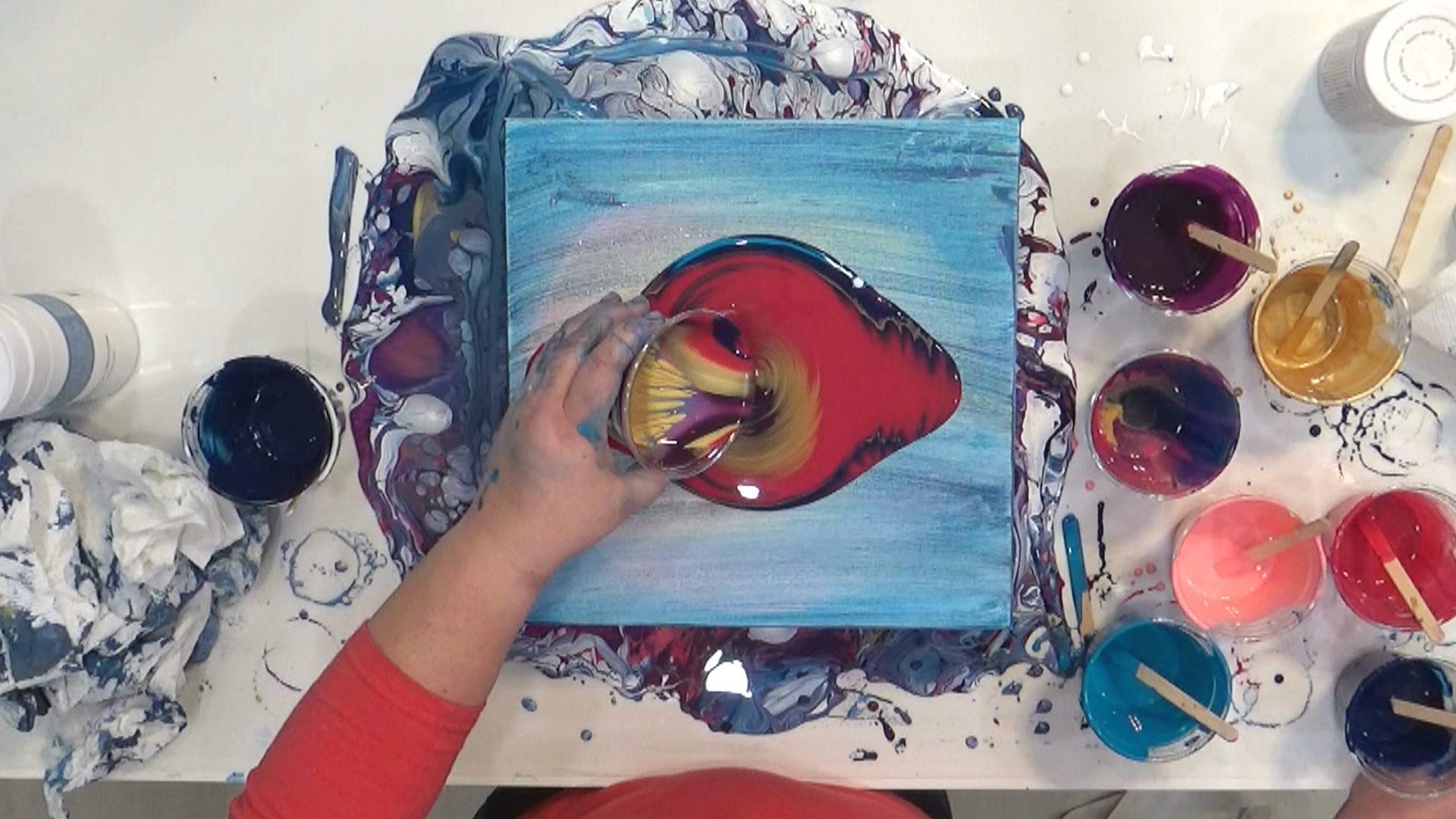 Cloud Pour - Avalanche - verser la peinture en couches sur la toile