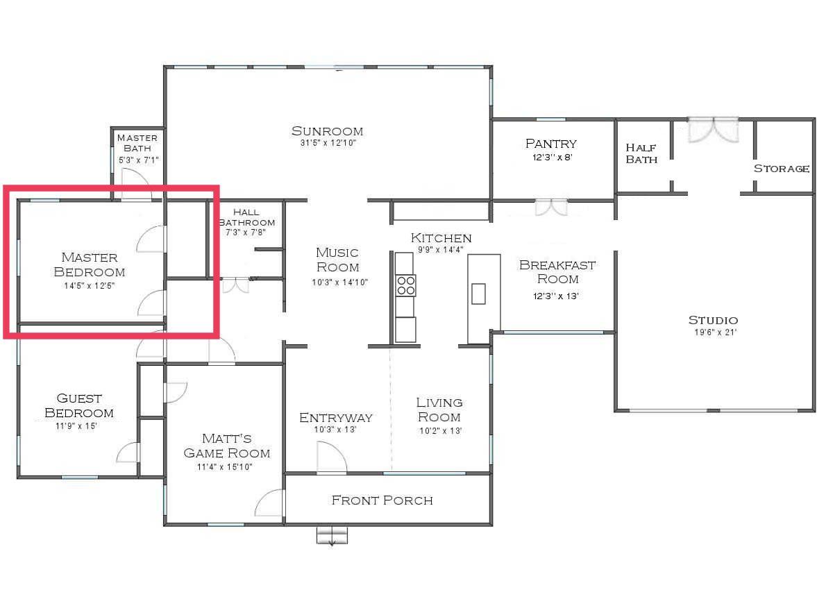 plan de la maison - chambre principale dans la salle de bain principale