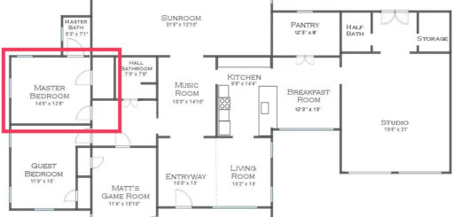 house floor plan - master bedroom into master bathroom