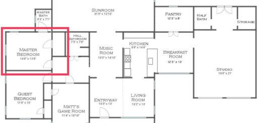 house floor plan - master bedroom into master bathroom