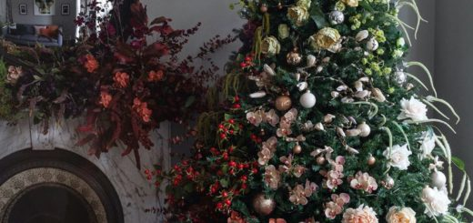 floral installation christmas tree covered in ombre faux flowers by hello flora
