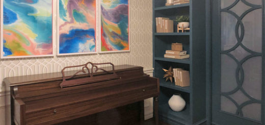 music room with teal bookcases - 4